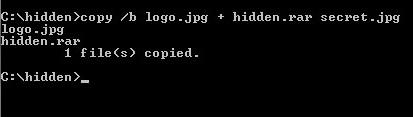 cmd How to hide files behind JPEG images.